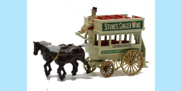 LLEDO: DG004 013 - HORSE DRAWN OMNIBUS - STONES GINGER WINE - MINT - BOXED