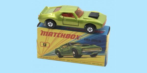 MATCHBOX SUPERFAST: 09E AMX JAVELIN - ORANGE SEATS - BOX I2 - MINT