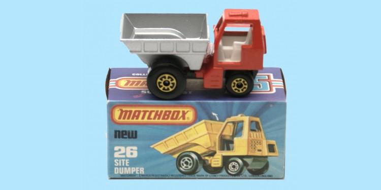 MATCHBOX SUPERFAST: 26C SITE DUMPER - ORANGE/SILVER - BOX K - MINT
