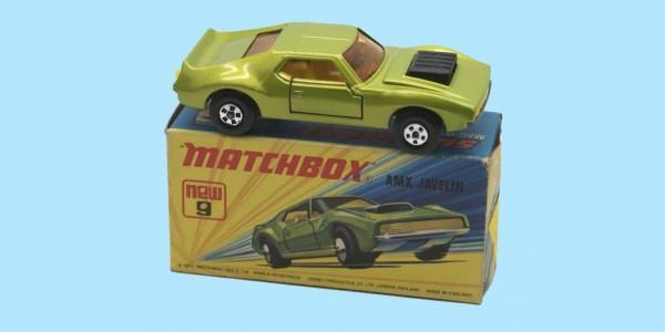 MATCHBOX SUPERFAST: 09E AMX JAVELIN - YELLOW SEATS - BOX I1 - MINT