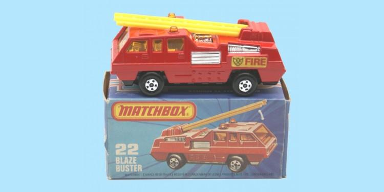 MATCHBOX SUPERFAST: 22C BLAZE BUSTER - RED/CHROME - BOX K - MINT