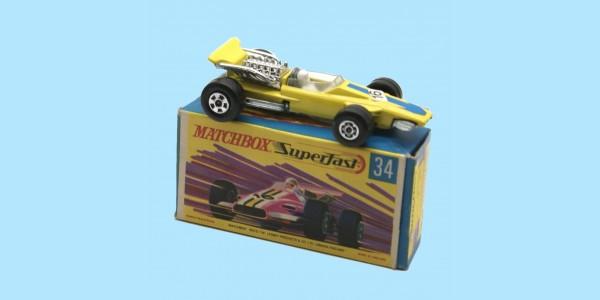 MATCHBOX SUPERFAST: 34D FORMULA 1 RACING CAR - YELLOW - BOX G2 - MINT