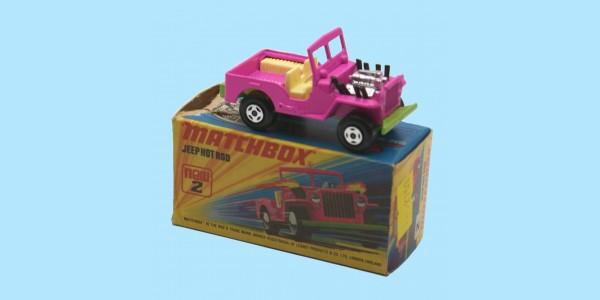 MATCHBOX SUPERFAST: 02E JEEP HOT ROD - PINK/GREEN BASE - BOX I2 - MINT