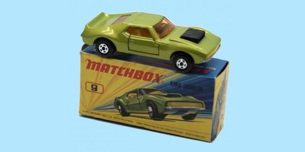 MATCHBOX SUPERFAST: 09E AMX JAVELIN - YELLOW SEATS - BOX I2 - MINT