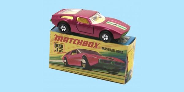 MATCHBOX SUPERFAST: 32D MASERATI BORA - BURGUNDY - BOX I1 - EXCELLENT